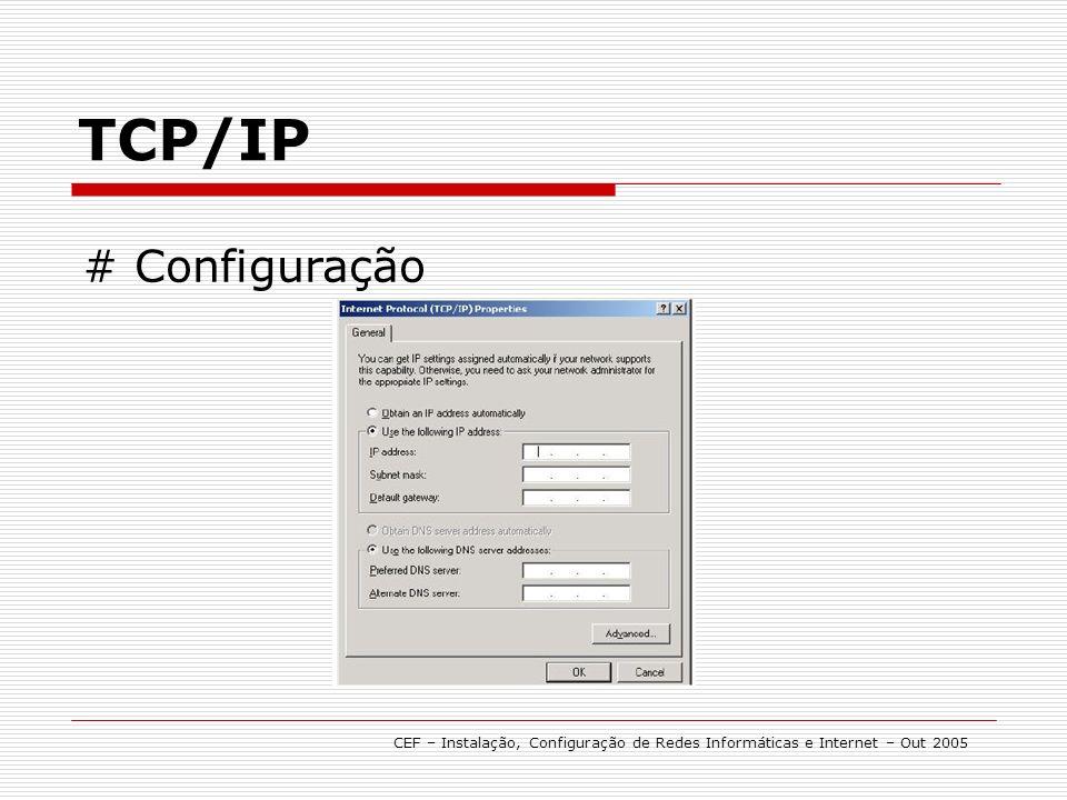 TCP/IP CEF – Instalação, Configuração de Redes Informáticas e Internet – Out 2005 # Configuração