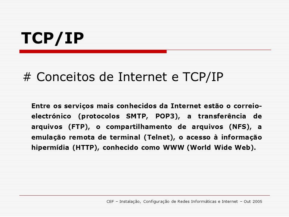 # Conceitos de Internet e TCP/IP TCP/IP O conjunto de protocolos TCP/IP foi projectado especialmente para ser o protocolo utilizado na Internet.