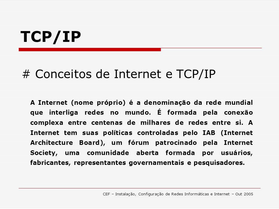 TCP/IP CEF – Instalação, Configuração de Redes Informáticas e Internet – Out 2005 # Configuração Na caixa Local Area Connections, pode instalar ou desisntalar protocolos de comunicações.