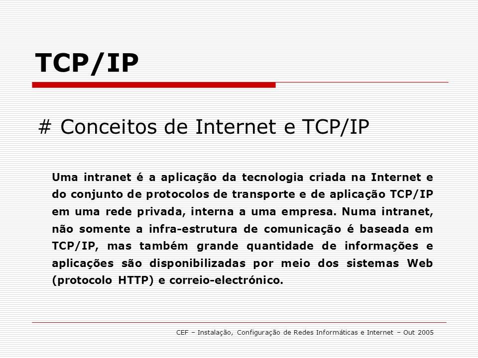 # Conceitos de Internet e TCP/IP TCP/IP Uma intranet é a aplicação da tecnologia criada na Internet e do conjunto de protocolos de transporte e de aplicação TCP/IP em uma rede privada, interna a uma empresa.