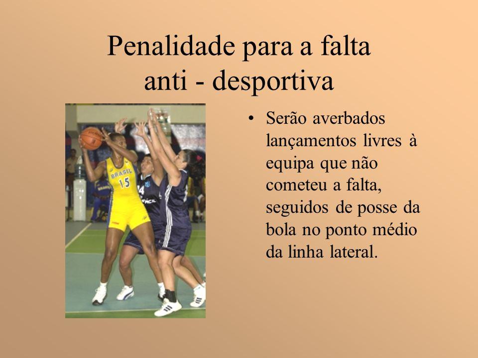 Falta Antidesportiva É uma falta pessoal cometida por um jogador que, no entender do árbitro, não é uma tentativa legitima de jogar directamente a bol