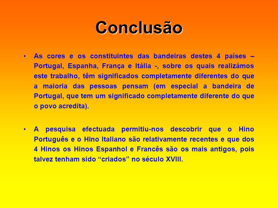 Conclusão Conclusão As cores e os constituintes das bandeiras destes 4 países – Portugal, Espanha, França e Itália -, sobre os quais realizámos este t