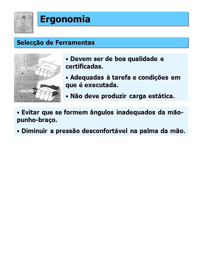 Ergonomia Selecção de Ferramentas Devem ser de boa qualidade e certificadas.