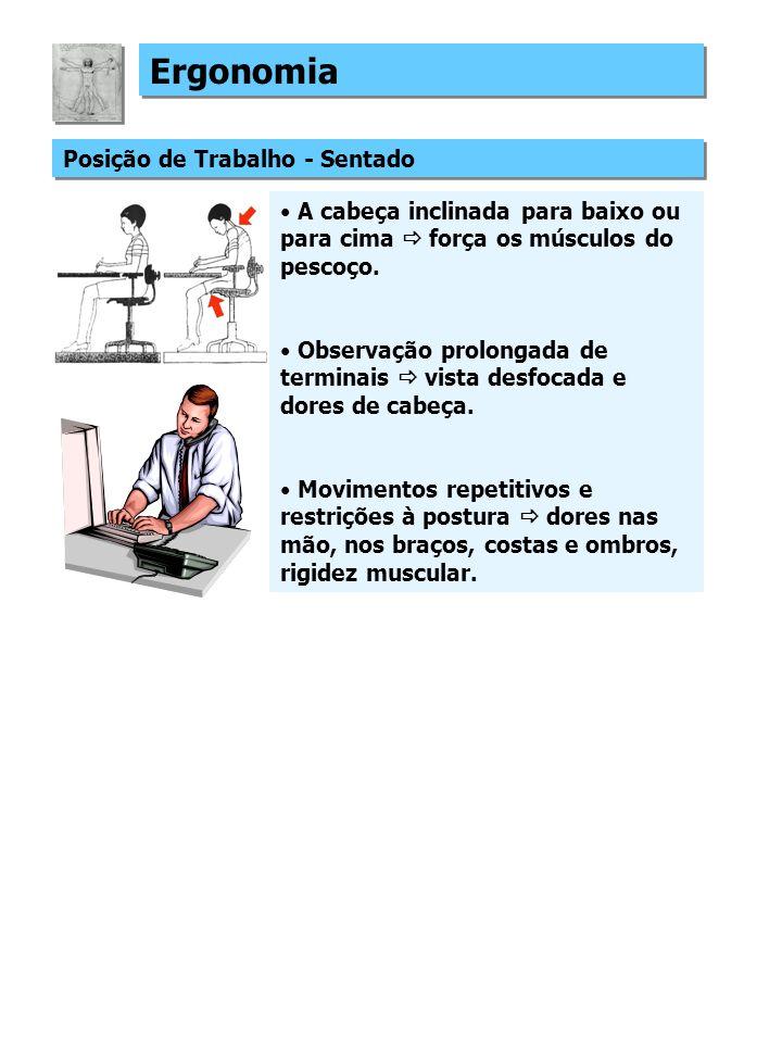 Ergonomia Posição de Trabalho - Sentado A cabeça inclinada para baixo ou para cima força os músculos do pescoço.