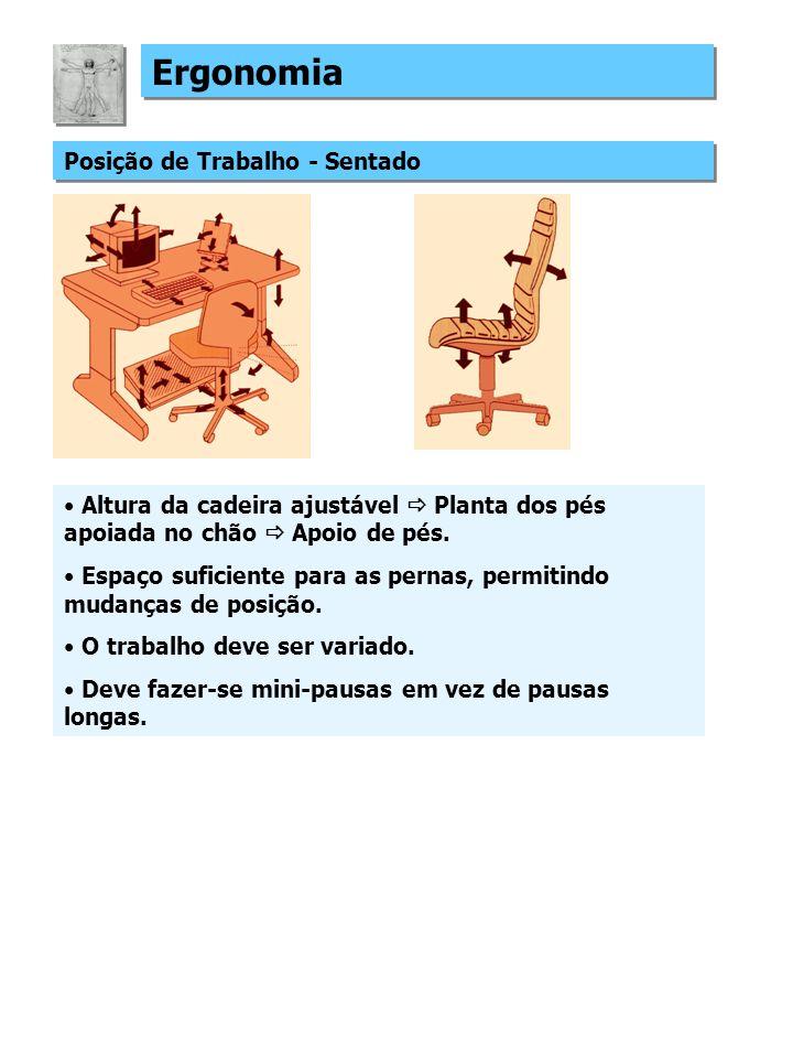 Ergonomia Posição de Trabalho - Sentado Altura da cadeira ajustável Planta dos pés apoiada no chão Apoio de pés. Espaço suficiente para as pernas, per