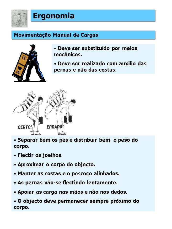 Ergonomia Movimentação Manual de Cargas Deve ser substituído por meios mecânicos.
