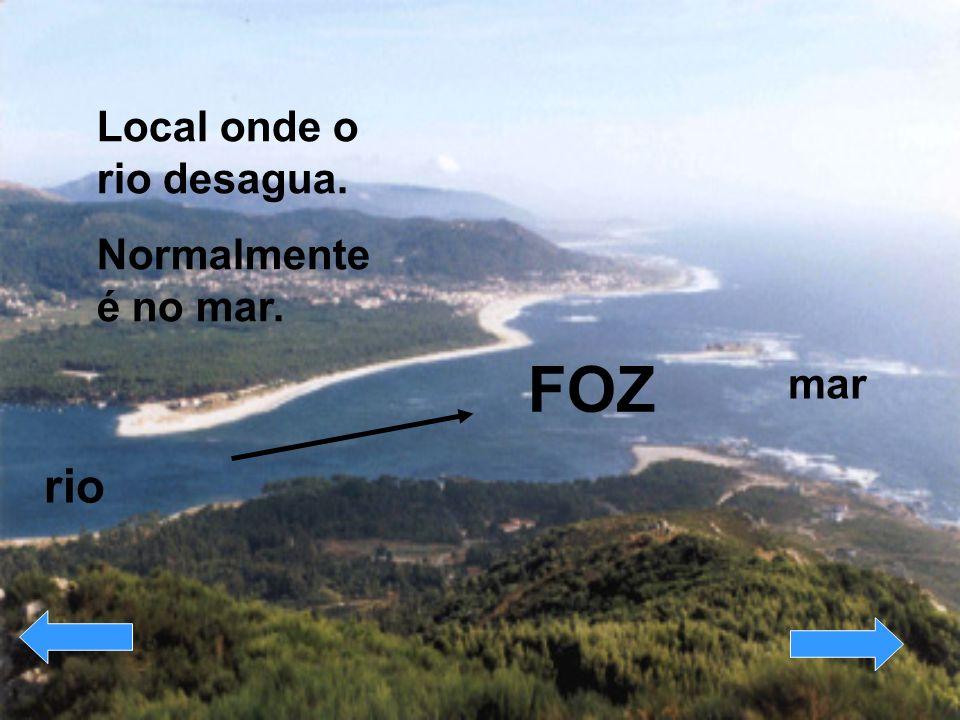 FOZ Local onde o rio desagua. Normalmente é no mar. mar rio