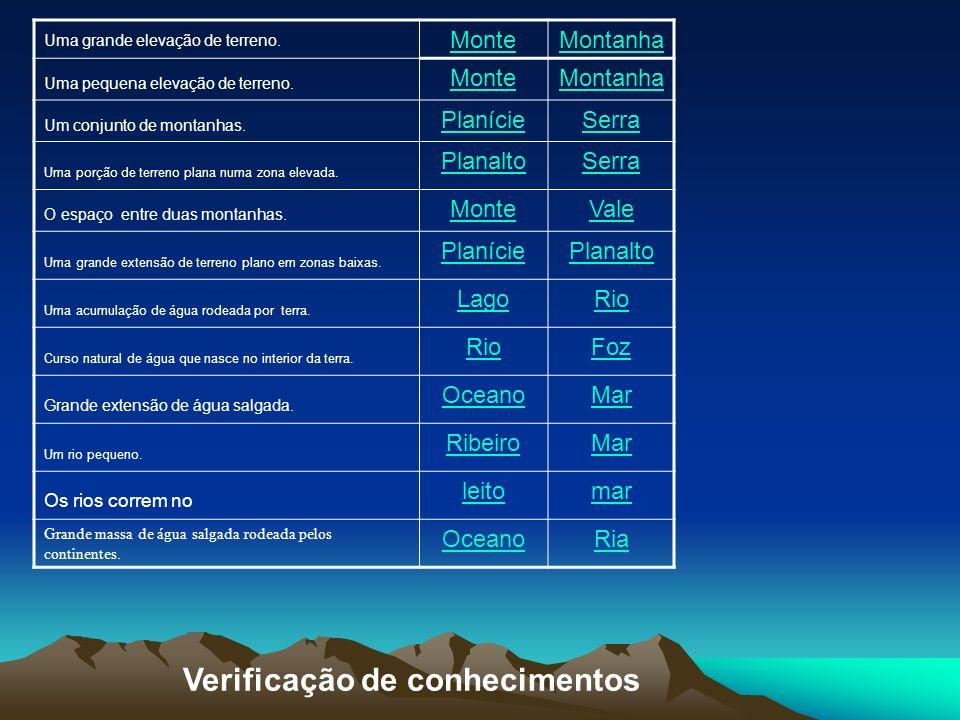 Verificação de conhecimentos Uma grande elevação de terreno. MonteMontanha Uma pequena elevação de terreno. MonteMontanha Um conjunto de montanhas. Pl