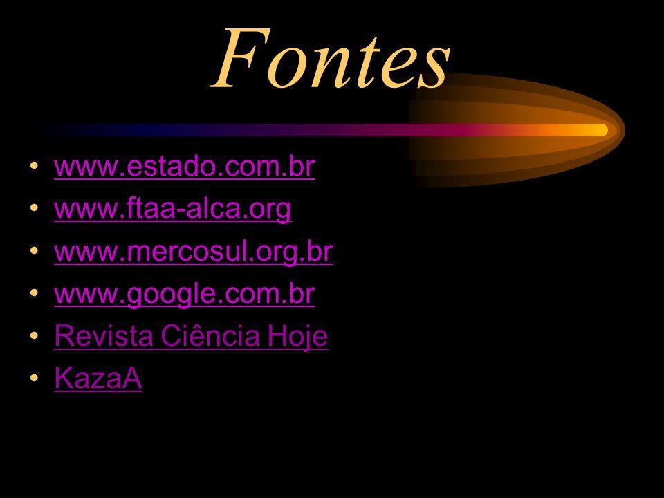 Fontes www.estado.com.br www.ftaa-alca.org www.mercosul.org.br www.google.com.br Revista Ciência Hoje KazaA
