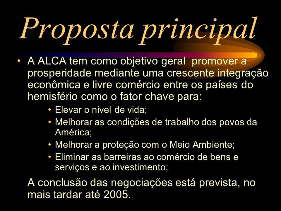 Proposta principal A ALCA tem como objetivo geral promover a prosperidade mediante uma crescente integração econômica e livre comércio entre os países
