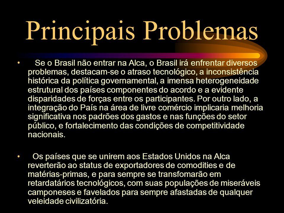 Principais Problemas Se o Brasil não entrar na Alca, o Brasil irá enfrentar diversos problemas, destacam-se o atraso tecnológico, a inconsistência his