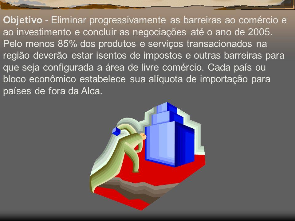 Objetivo - Eliminar progressivamente as barreiras ao comércio e ao investimento e concluir as negociações até o ano de 2005.