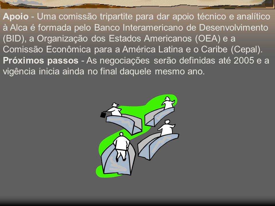 Apoio - Uma comissão tripartite para dar apoio técnico e analítico à Alca é formada pelo Banco Interamericano de Desenvolvimento (BID), a Organização dos Estados Americanos (OEA) e a Comissão Econômica para a América Latina e o Caribe (Cepal).