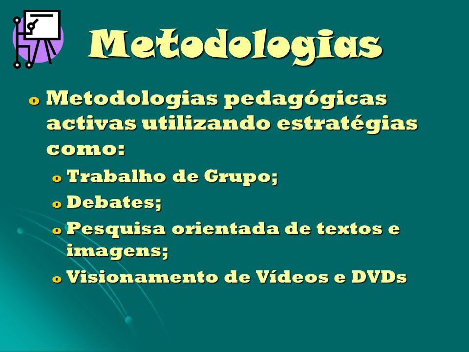 Metodologias o Presença na escola de membros da comunidade e convidados; o Organização de um Diário de Formação Cívica (caderno de reflexão de cada aluno sobre temáticas tratadas).