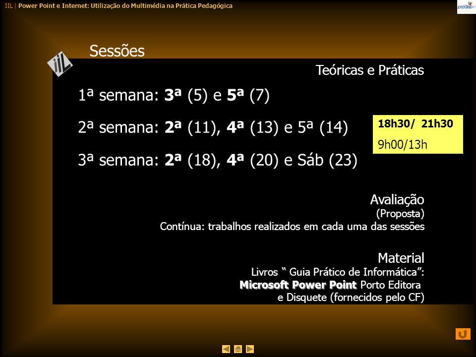 IIL | Power Point e Internet: Utilização do Multimédia na Prática Pedagógica Sessões Teóricas e Práticas Avaliação (Proposta) Contínua: trabalhos real