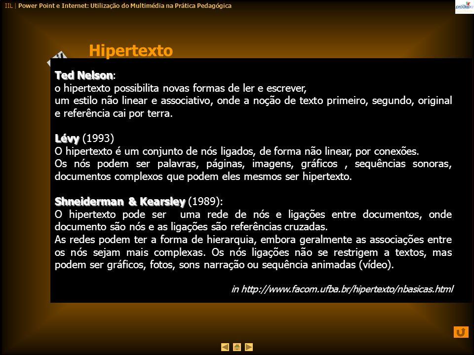 IIL | Power Point e Internet: Utilização do Multimédia na Prática Pedagógica Ted Nelson Ted Nelson: o hipertexto possibilita novas formas de ler e esc