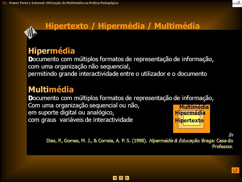 IIL | Power Point e Internet: Utilização do Multimédia na Prática Pedagógica Hipermédia D Documento com múltiplos formatos de representação de informa