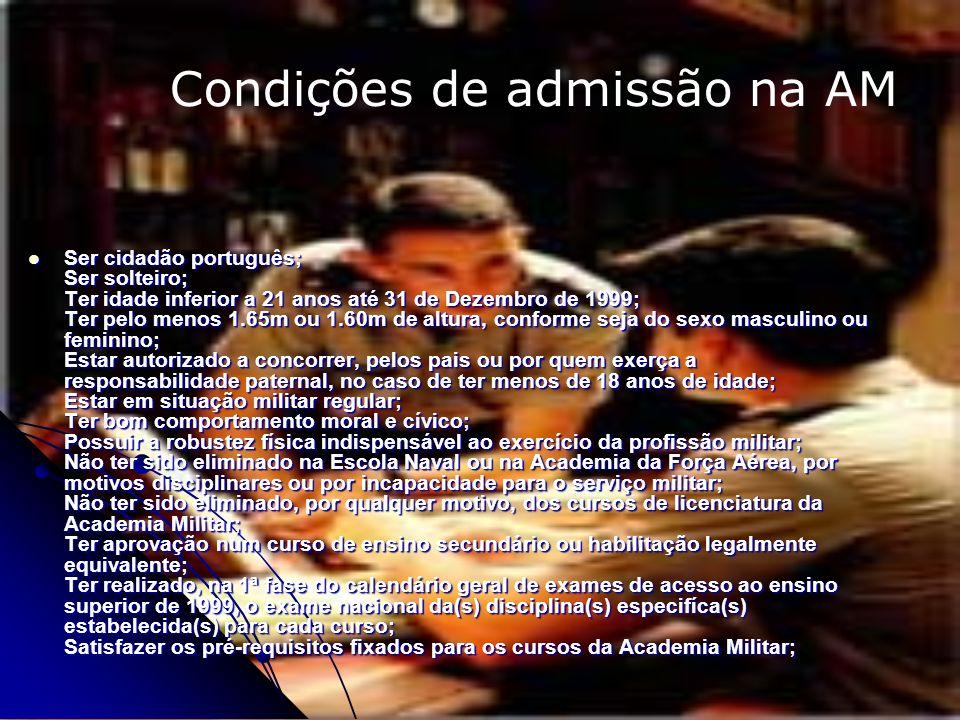 Ser cidadão português; Ser solteiro; Ter idade inferior a 21 anos até 31 de Dezembro de 1999; Ter pelo menos 1.65m ou 1.60m de altura, conforme seja d