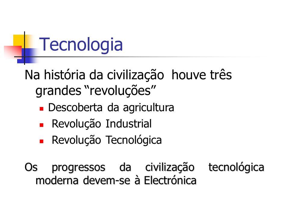 Tecnologia Na história da civilização houve três grandes revoluções Descoberta da agricultura Revolução Industrial Revolução Tecnológica Os progressos da civilização tecnológica moderna devem-se à Electrónica
