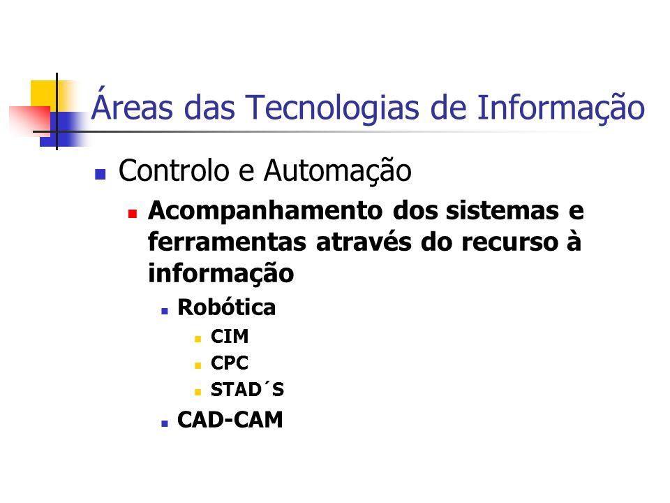 Áreas das Tecnologias de Informação Controlo e Automação Acompanhamento dos sistemas e ferramentas através do recurso à informação Robótica CIM CPC STAD´S CAD-CAM