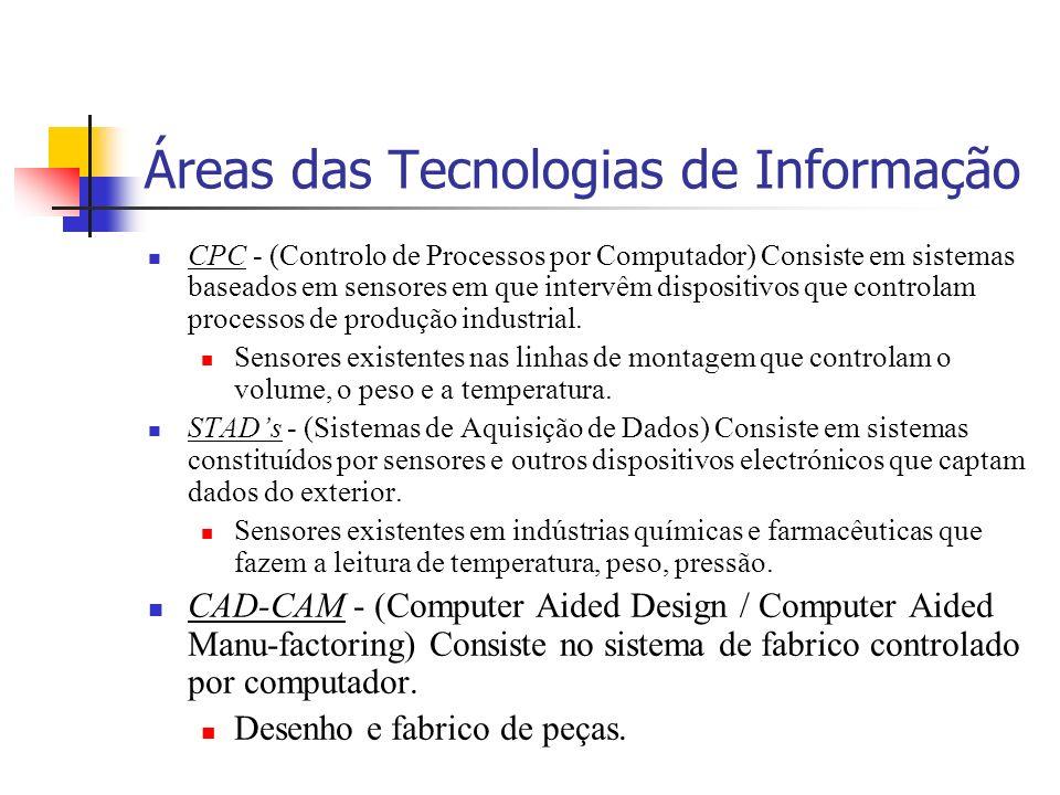 Áreas das Tecnologias de Informação CPC - (Controlo de Processos por Computador) Consiste em sistemas baseados em sensores em que intervêm dispositivos que controlam processos de produção industrial.