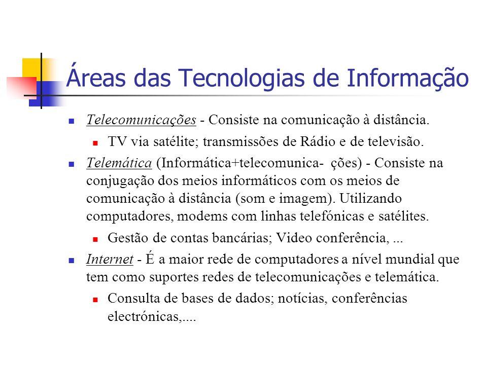 Áreas das Tecnologias de Informação Telecomunicações - Consiste na comunicação à distância.