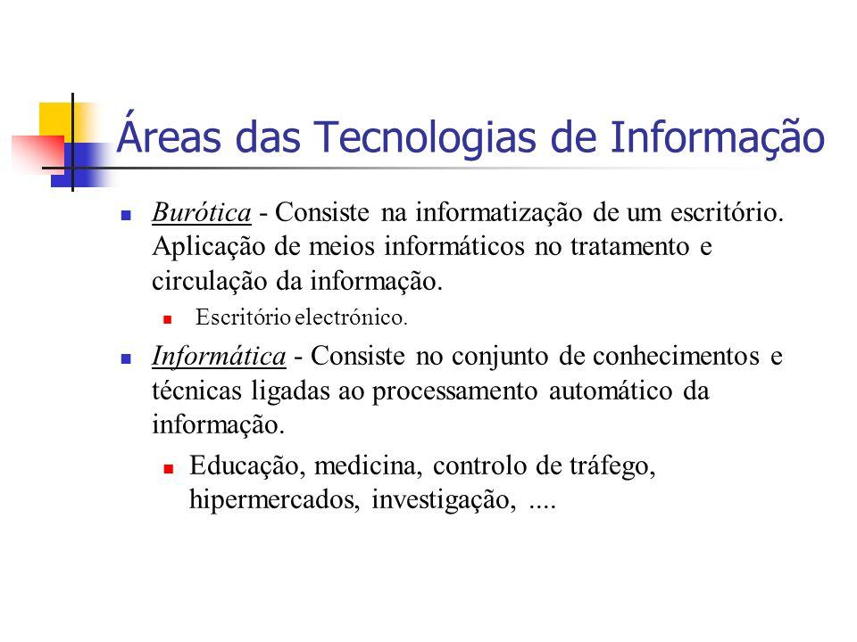Áreas das Tecnologias de Informação Burótica - Consiste na informatização de um escritório.