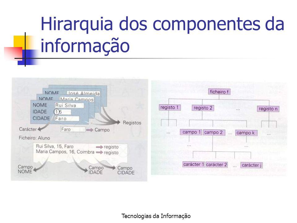 Tecnologias da Informação Hirarquia dos componentes da informação