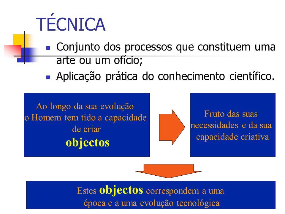 TÉCNICA Conjunto dos processos que constituem uma arte ou um ofício; Aplicação prática do conhecimento científico.