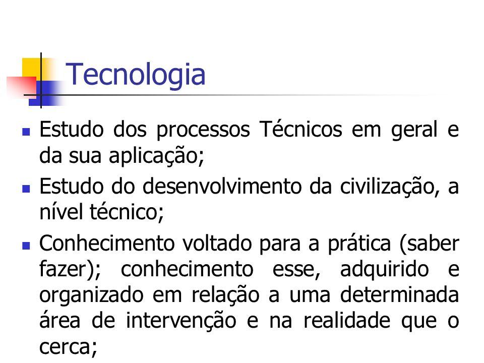 Tecnologia Estudo dos processos Técnicos em geral e da sua aplicação; Estudo do desenvolvimento da civilização, a nível técnico; Conhecimento voltado para a prática (saber fazer); conhecimento esse, adquirido e organizado em relação a uma determinada área de intervenção e na realidade que o cerca;