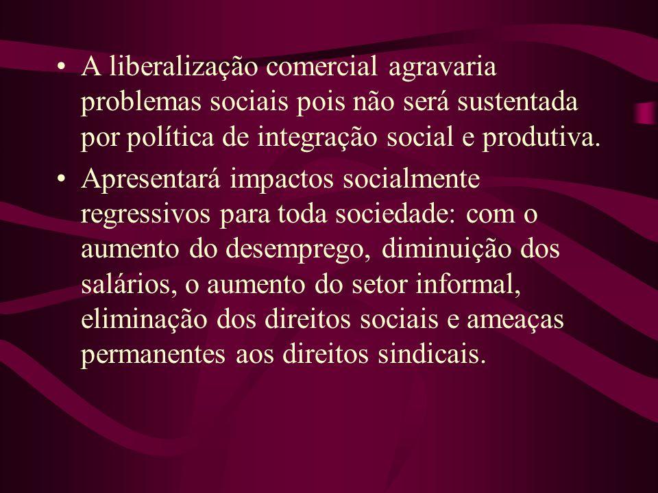 A liberalização comercial agravaria problemas sociais pois não será sustentada por política de integração social e produtiva. Apresentará impactos soc