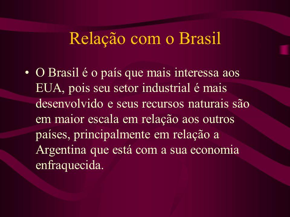Relação com o Brasil O Brasil é o país que mais interessa aos EUA, pois seu setor industrial é mais desenvolvido e seus recursos naturais são em maior