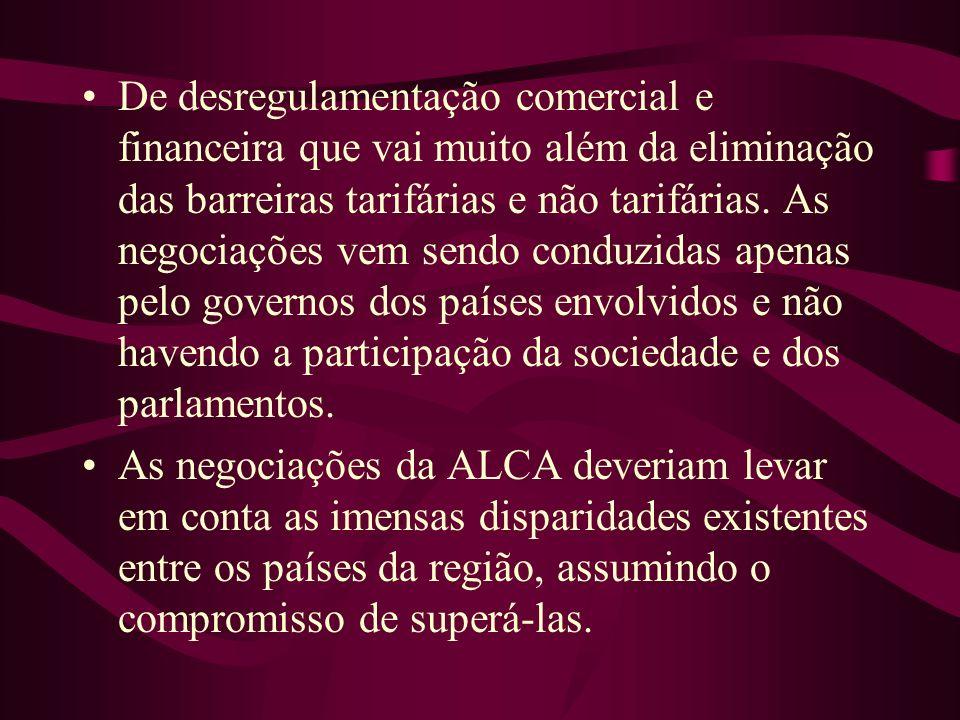 Há restrição em relação a mão-de-obra A ALCA irá congelar a situação do jeito que ela está, ou seja, com os EUA como uma grande potência, aumentando o seu controle sobre as decisões tomadas nos outros países.
