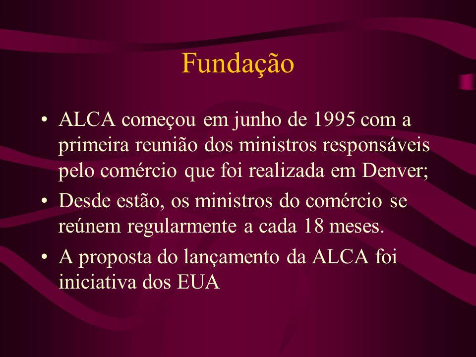 Fundação ALCA começou em junho de 1995 com a primeira reunião dos ministros responsáveis pelo comércio que foi realizada em Denver; Desde estão, os mi