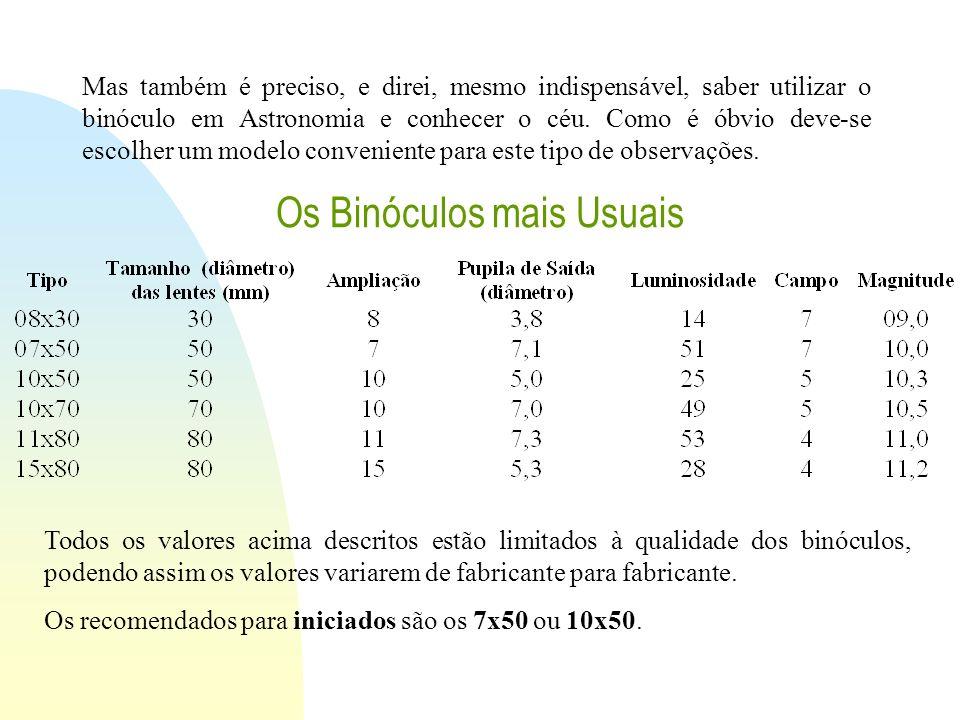 Os Binóculos mais Usuais Todos os valores acima descritos estão limitados à qualidade dos binóculos, podendo assim os valores variarem de fabricante p