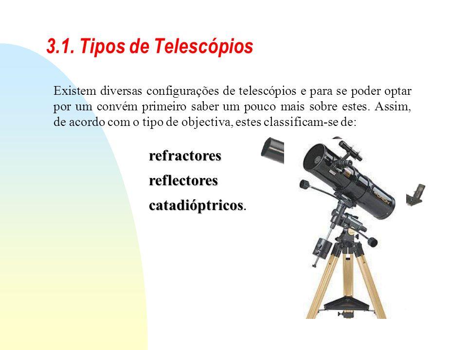 3.1. Tipos de Telescópios Existem diversas configurações de telescópios e para se poder optar por um convém primeiro saber um pouco mais sobre estes.