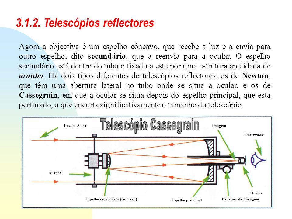 3.1.2. Telescópios reflectores Agora a objectiva é um espelho côncavo, que recebe a luz e a envia para outro espelho, dito secundário, que a reenvia p