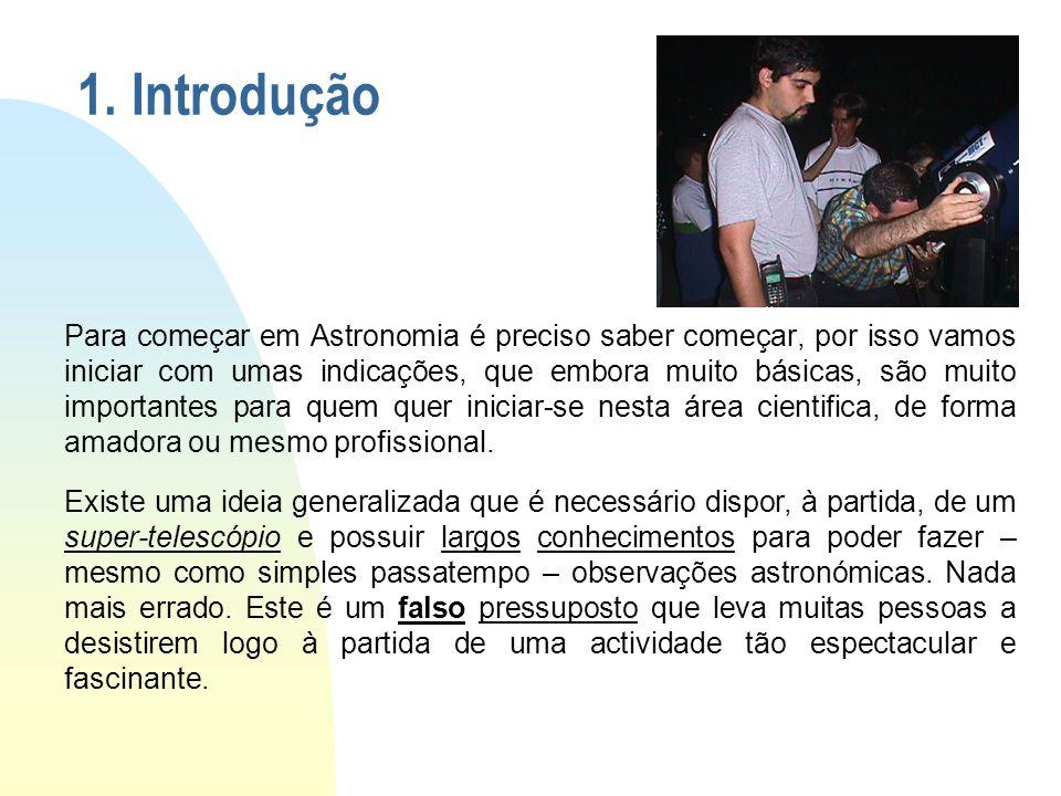 1. Introdução Para começar em Astronomia é preciso saber começar, por isso vamos iniciar com umas indicações, que embora muito básicas, são muito impo
