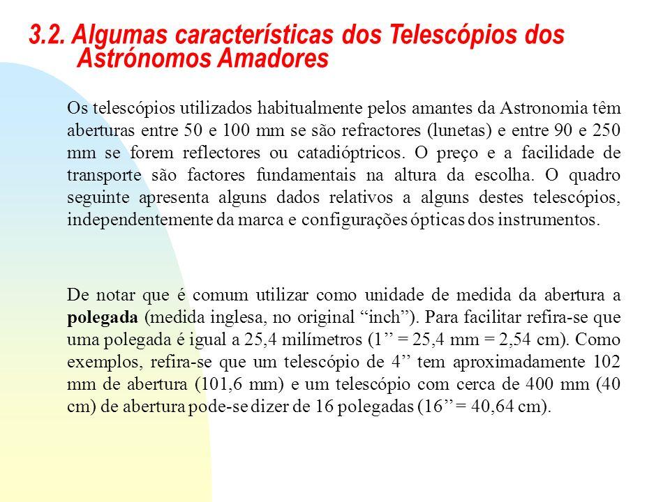 3.2. Algumas características dos Telescópios dos Astrónomos Amadores De notar que é comum utilizar como unidade de medida da abertura a polegada (medi