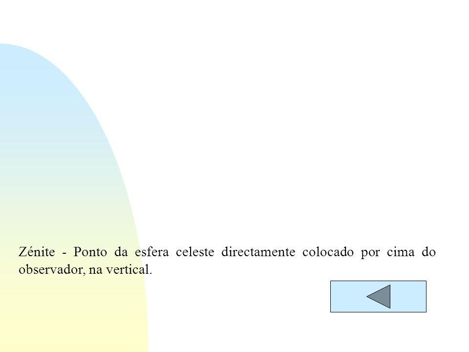 Zénite - Ponto da esfera celeste directamente colocado por cima do observador, na vertical.