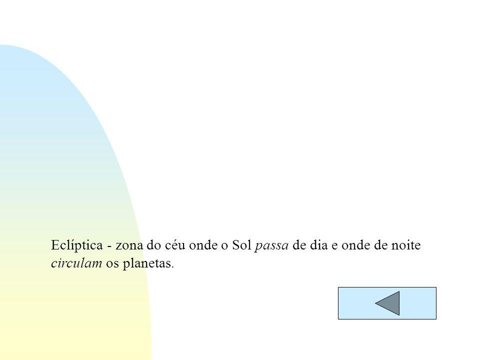 Eclíptica - zona do céu onde o Sol passa de dia e onde de noite circulam os planetas.