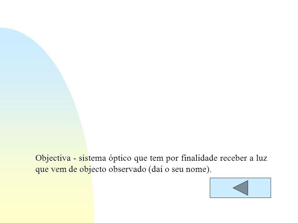 Objectiva - sistema óptico que tem por finalidade receber a luz que vem de objecto observado (daí o seu nome).
