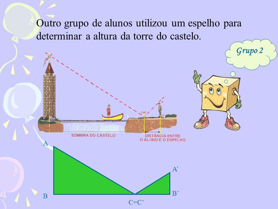 Outro grupo de alunos utilizou um espelho para determinar a altura da torre do castelo. A C=C B B A Grupo 2