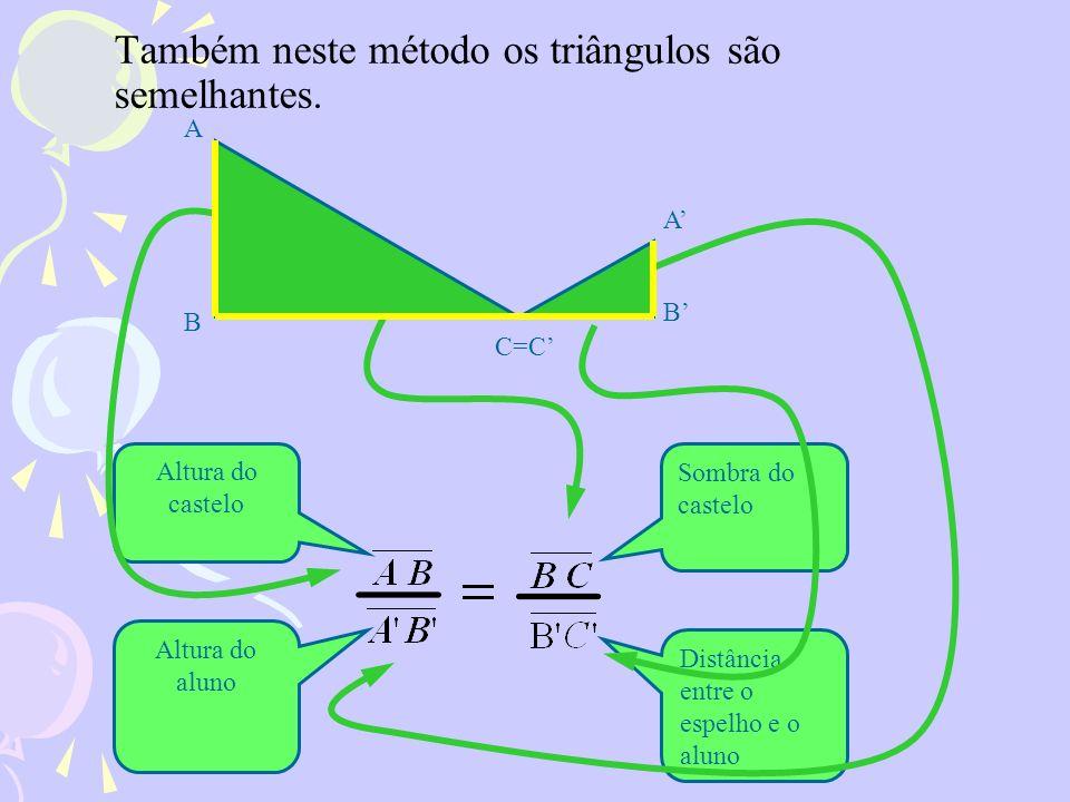 Também neste método os triângulos são semelhantes. A C=C B B A Sombra do castelo Distância entre o espelho e o aluno Altura do castelo Altura do aluno