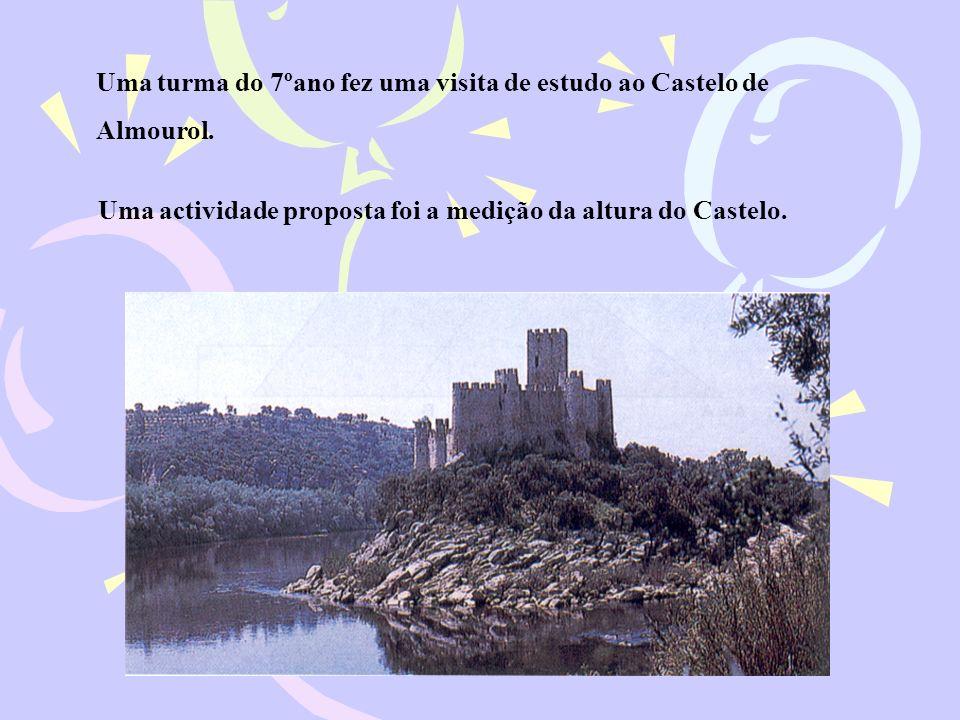 Uma turma do 7ºano fez uma visita de estudo ao Castelo de Almourol. Uma actividade proposta foi a medição da altura do Castelo.