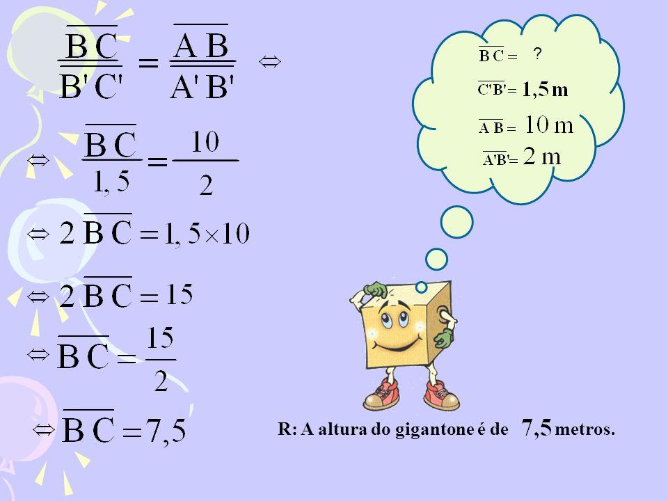 R: A altura do gigantone é de metros. ?