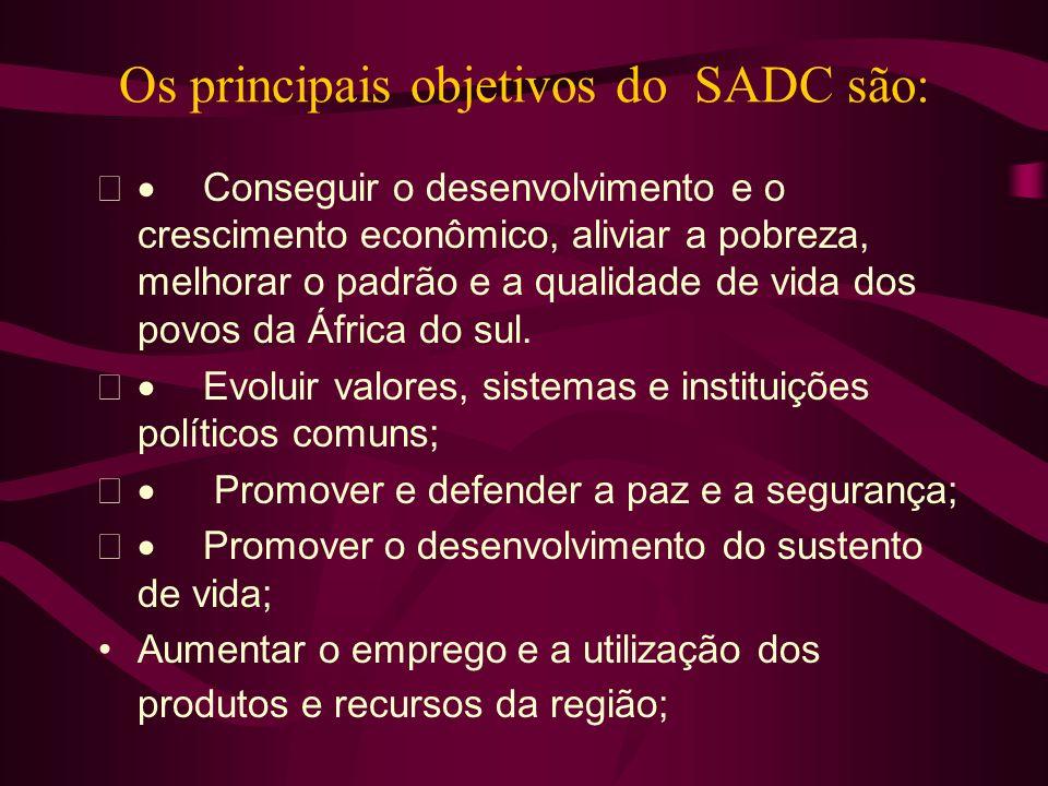 Os principais objetivos do SADC são: Conseguir o desenvolvimento e o crescimento econômico, aliviar a pobreza, melhorar o padrão e a qualidade de vida