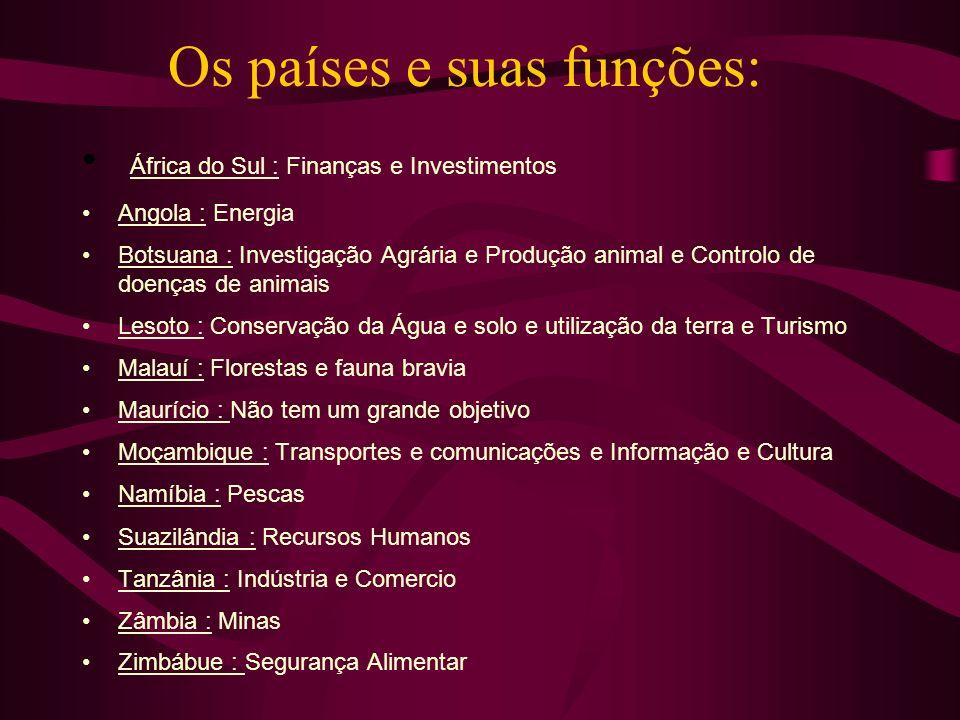 Os países e suas funções: África do Sul : Finanças e Investimentos Angola : Energia Botsuana : Investigação Agrária e Produção animal e Controlo de do