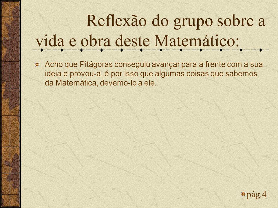 Reflexão do grupo sobre a vida e obra deste Matemático: Acho que Pitágoras conseguiu avançar para a frente com a sua ideia e provou-a, é por isso que
