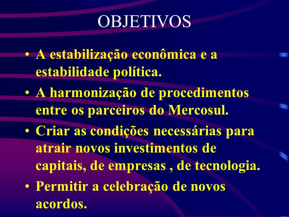 OBJETIVOS A estabilização econômica e a estabilidade política. A harmonização de procedimentos entre os parceiros do Mercosul. Criar as condições nece
